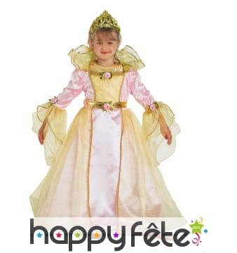 Elégante robe rose et dorée de petite princesse