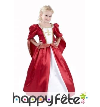 Elégante robe rouge médiévale pour fillette