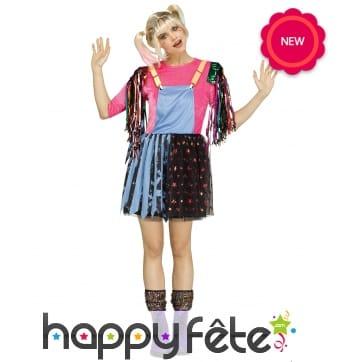 Ensemble robe salopette effet disco pour femme