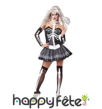 Ensemble robe squelette noir et blanc