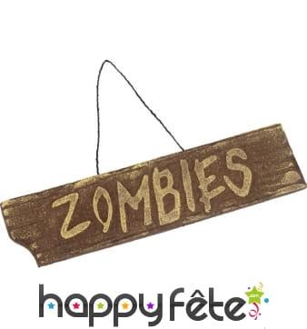 Ecriteau zombies à accorcher pour Halloween