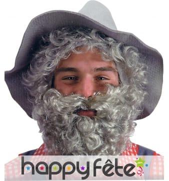 Fausse barbe grise frisee avec élastique