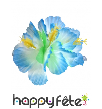Fleur bleue sur barrette à cheveux