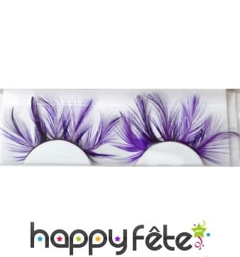 Faux cils plumes violet