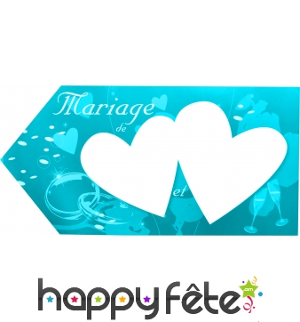 Fleche d'indication mariage turquoise