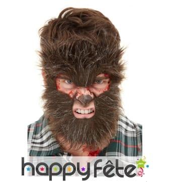 Fourrure de loup-garou pour visage, adulte