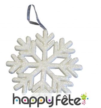 Flocon de neige blanc à paillettes de 25 cm