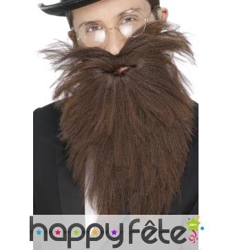 Fausse longue barbe avec moustaches chatains
