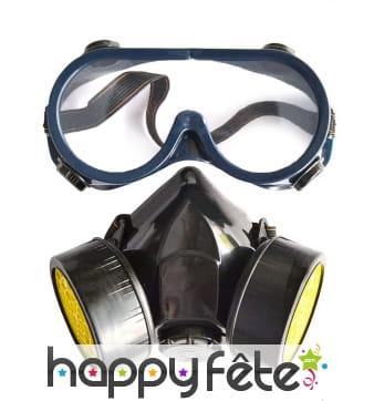 Faux masque à gaz avec lunettes, pour adulte