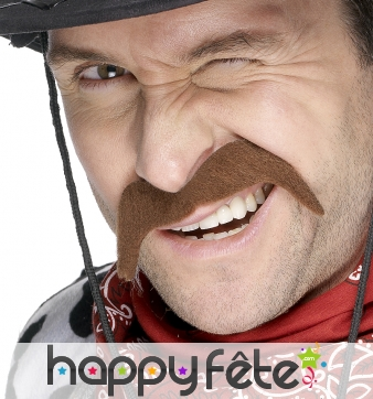 Fausse moustache de cow boy chatain