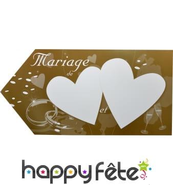 Fleche marron d'indication pour mariage