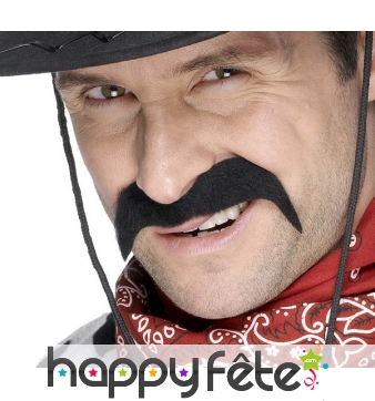 Fausses moustaches noires de cow boy