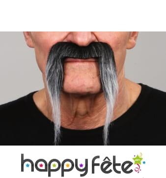 Fausses moustaches tombantes poivre et sel