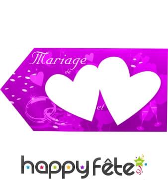 Fleche rose d'indication pour mariage