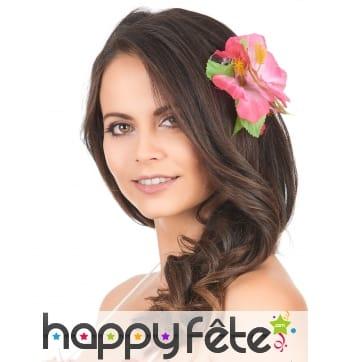 Fleur rose des iles sur barrette à cheveux