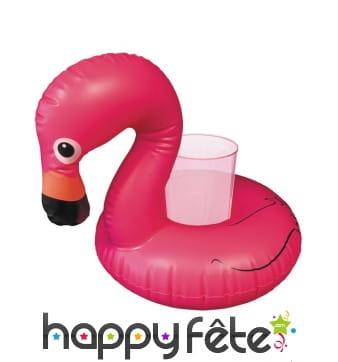 Flamant rose porte goblet gonflable