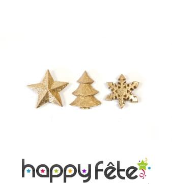 Flocons, sapins et étoiles décoratifs dorés, 3cm