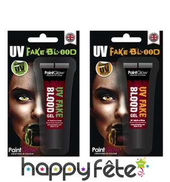 Faux sang UV phosphorescent en gel