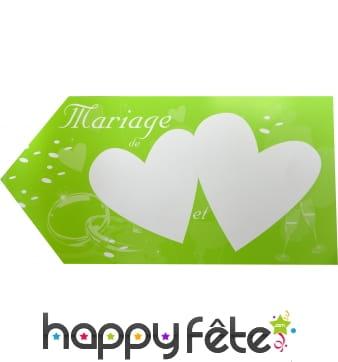 Fleche verte d'indication pour mariage