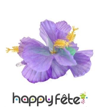 Fleur violette sur barrette à cheveux