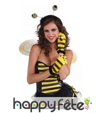 Gants abeille à rayures noires et jaunes