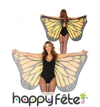Grandes ailes de papillon noires et oranges