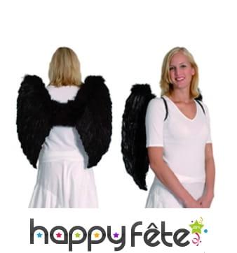 Grandes ailes noires d'ange en plumes