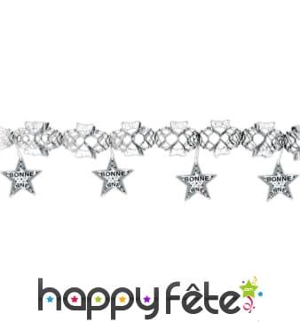 Guirlande bonne année argentée étoiles imprimées