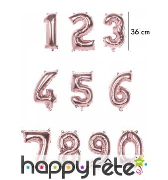 Grand ballon chiffre rose métallisé de 36 cm