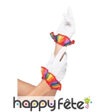 Gants blancs de clown avec poignets multicolores
