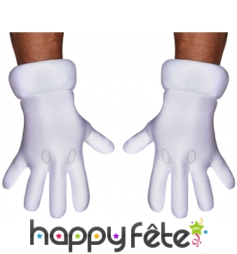 Gants blancs de Mario pour adulte