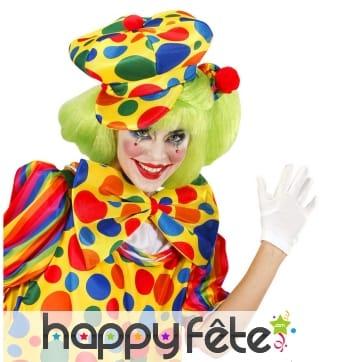 Grand béret de clown à pois multicolores