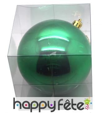 Grosse Boule de noel vert brillant 20 cm