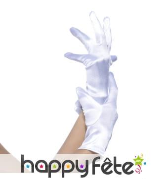 Gants blancs élastiques satinés de 22cm