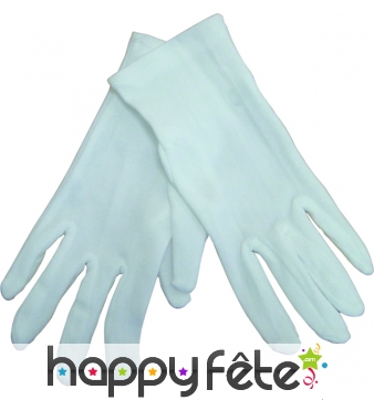 Gants blancs en polyester pour enfant.