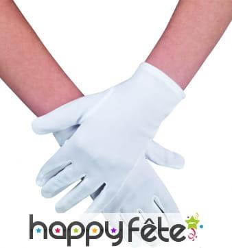Gants blancs en polyester
