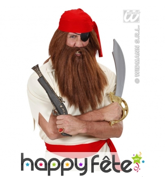 Grosses barbe et perruque chatain de pirate