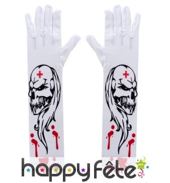 Gants blancs imprimé zombie infirmier et sang