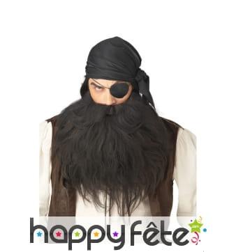 Grosse barbe moustache de pirate noire