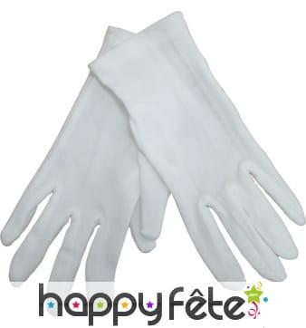 Gants blancs pour enfant en polyester