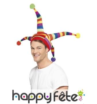 Grand chapeau de fou du roi multicolore
