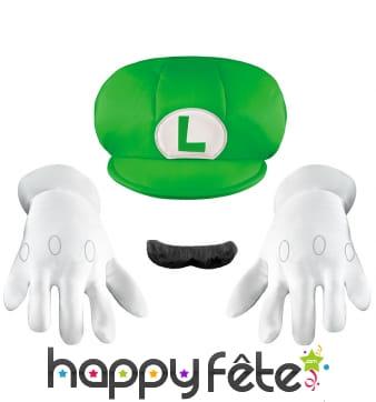 Gants, casquette et moustache de Luigi pour enfant
