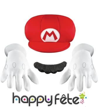 Gants, casquette et moustache de Mario pour enfant