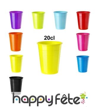Gobelets colorés en plastique de 20cl