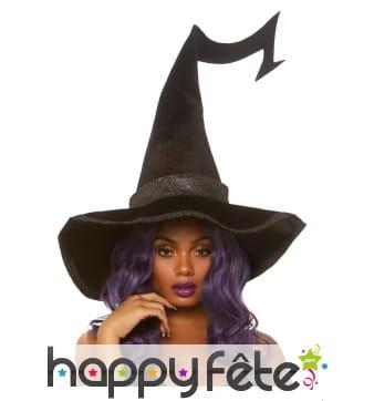 Grand chapeau en velours noir de sorcière