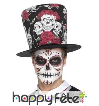 Grand chapeau haut de forme motifs jour des morts