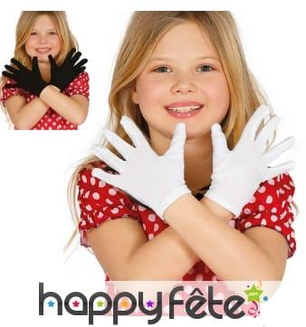 Gants courts pour petite fille noirs ou blancs