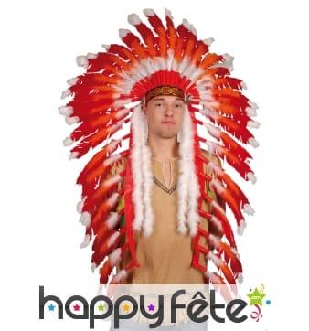 Grande coiffe rouge et blanche de chef indien