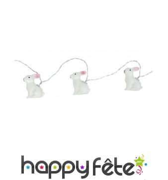 Guirlande de 10 lapins blancs lumineux de 160cm