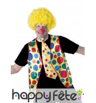 Gilet de clown à pois colorés pour adulte